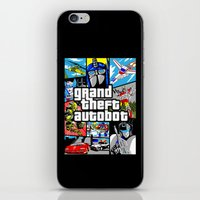 grand theft auto iPhone & iPod Skins featuring Grand Theft Autobot (GTA G1 Transformers) by Demonlinks