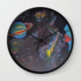 Blue Saturn Wall Clock