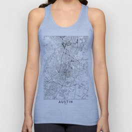 Austin White Map Unisex Tank Top