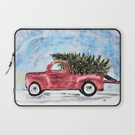 Vintage Red Christmas Truck with Tree Watercolor Laptop Sleeve
