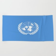 Flag on United nations -Un,World,peace,Unesco,Unicef,human rights,sky,blue,pacific,people,state,onu Beach Towel