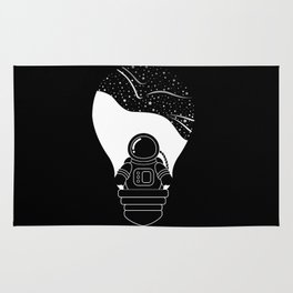 Space Odyssey | Lightbulb | Astronaut | Black and White | Cosmos | Stars | Galaxy | pulp of wood Rug
