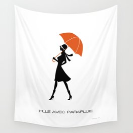 Fille Avec Parapluie Wall Tapestry