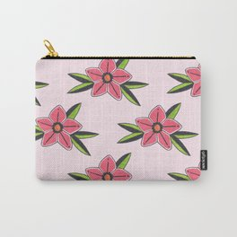 Old school tattoo flower pattern in pink Carry-All Pouch