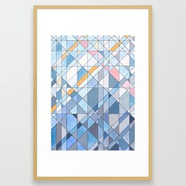 Triangle Pattern no.17 Light Blues Framed Art Print