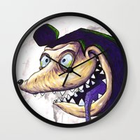 mike wrobel Wall Clocks featuring Mike  by Crooked Octopus