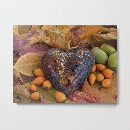 Autumn Still Life With Glass Heart Metal Print