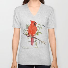 Cardinal Bird Unisex V-Neck