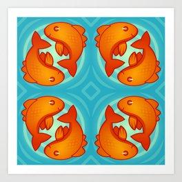 Golden Pretty Fish Art Print