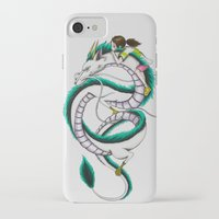 chihiro iPhone & iPod Cases featuring Haku and Chihiro by Mrs Storm