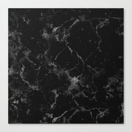 Vintage modern black gray white stylish marble Canvas Print