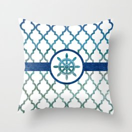 Ship Helm: Tropical Water Moroccan Pattern Throw Pillow
