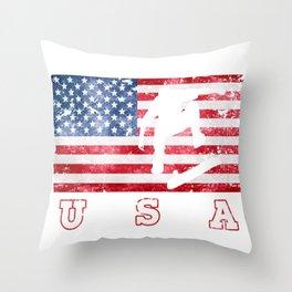 Skateboarding on USA Flag of America Throw Pillow