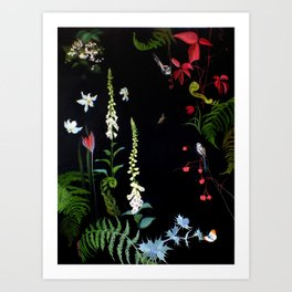 Foxgloves, Ferns and Long-tailed Tits Art Print