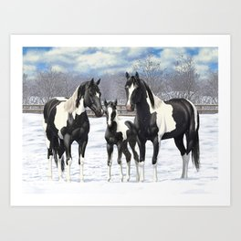 Black Pinto Horse Family Paint Horses In Snow Art Print