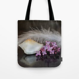 Still life with flowers, shell and feather Tote Bag
