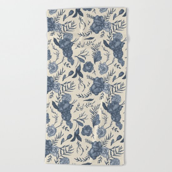 Blue Floral Pattern Beach Towel