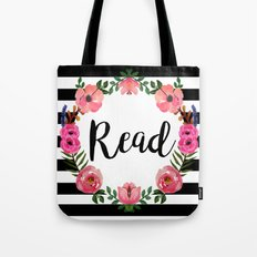 Read - Stripes & Flowers Tote Bag