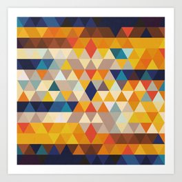 Geometric Triangle - Ethnic Inspired Pattern - Orange, Blue Art Print