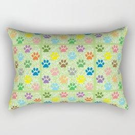 Colorful paw prints Rectangular Pillow