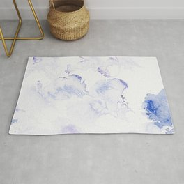 Modern abstract navy blue lavender watercolor Rug