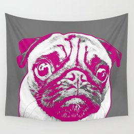 Sweet pug in pink and gray. Pop art style portrait. Wall Tapestry