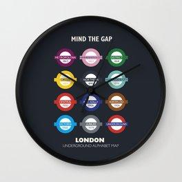 London subway poster, metro alphabet map, underground sign, London tube Wall Clock