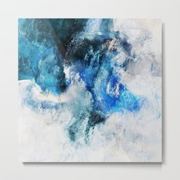 Waves Abstract Painting - Minimalist Seascape Painting Metal Print