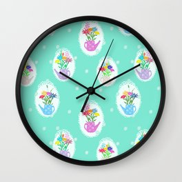 jars with flowers Wall Clock