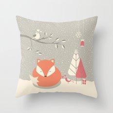 Christmas baby fox 06 Throw Pillow