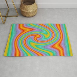 Colorful Currly Wirrly Stripes Rug