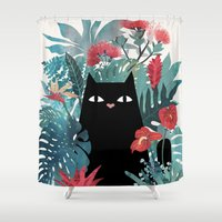 palm Shower Curtains featuring Popoki by littleclyde