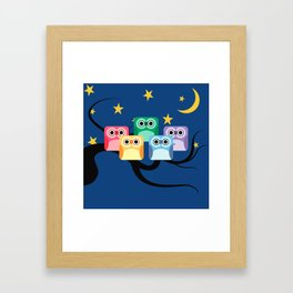 Rainbow Hooties Square Owls at Night Framed Art Print