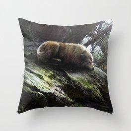 Wolf den Throw Pillow