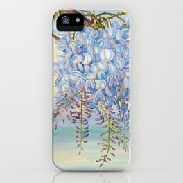 Mount Fuji and wisteria flowers iPhone Case