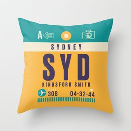 Retro Airline Luggage Tag - SYD Sydney Kingsford Smith Throw Pillow