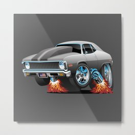 Classic American Muscle Car Hot Rod Cartoon Metal Print