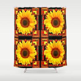 QUATRE WESTERN BLACK & RED ART DECO YELLOW SUNFLOWER Shower Curtain