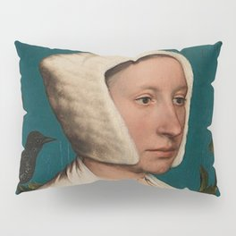PORTRAIT OF A LADY WITH A SQUIRREL AND A STARLING - HANS HOLBEIN Pillow Sham