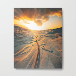 iceland road aerial view Metal Print