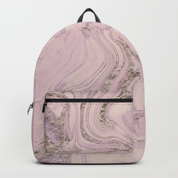 Pastel Pink Gold Faux Glitter Marble Backpack