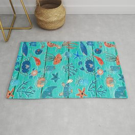 Blue & Orange Under the Sea Rug