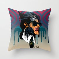 karl lagerfeld Throw Pillows featuring wolvereen  vs Karl Lagerfeld  by el brujo