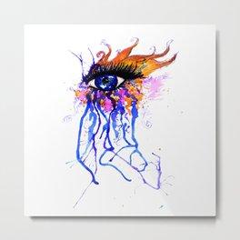 Flamy Watercolor Eye Metal Print