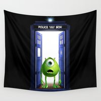 monster inc Wall Tapestries featuring Tardis Monster inc by DavinciArt