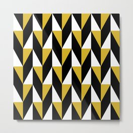 Geometric Pattern 77 (mustard black triangles) Metal Print
