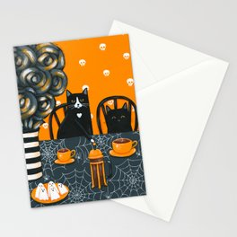 Halloween French Press Coffee Cats Stationery Cards