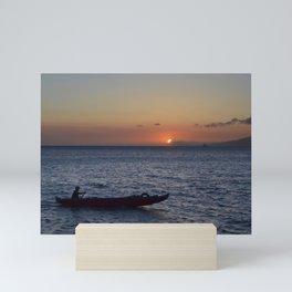 rowing through the maui sunset Mini Art Print