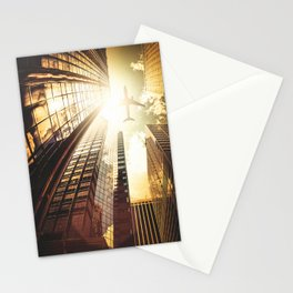 airplane in new york city Stationery Cards