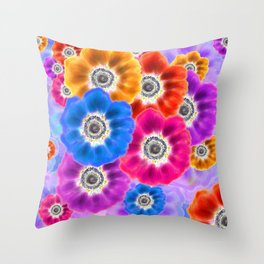 Flowers A-Glowing Throw Pillow